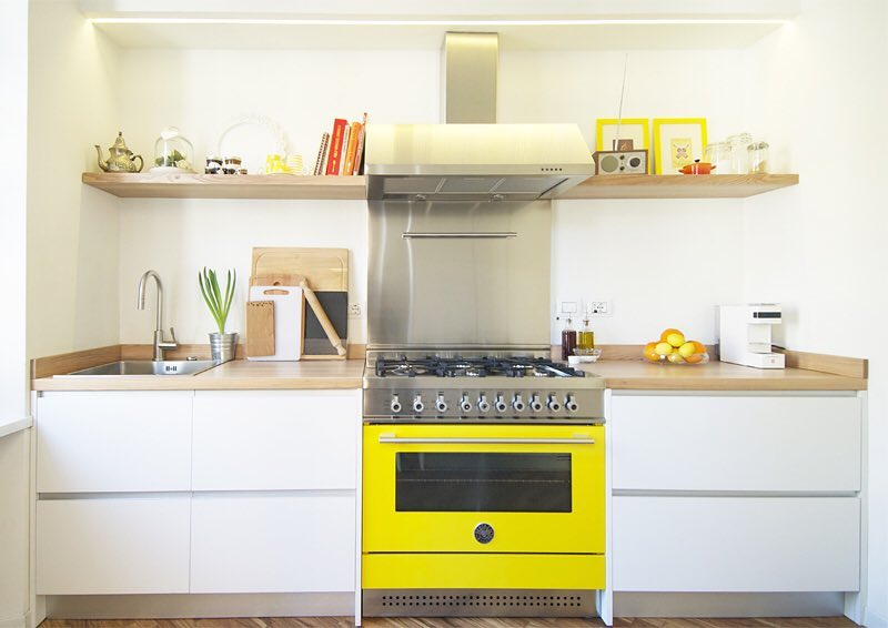 kitchen trends, colorful kitchen design, Bertazzoni Italian kitchen design, yellow cooker freestanding