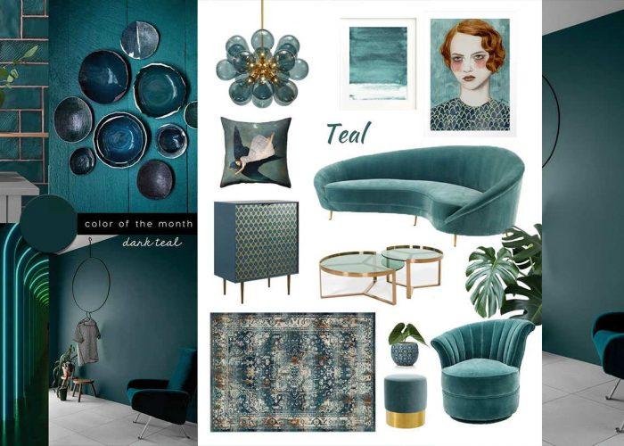 SHOP IT | Elegant Living Room in Dark Teal