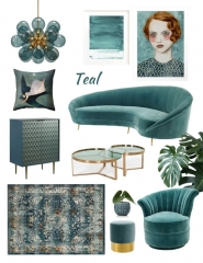 moodboard teal, dark teal interior, dark teal decor trend, furniture teal, italianbark interior design blog