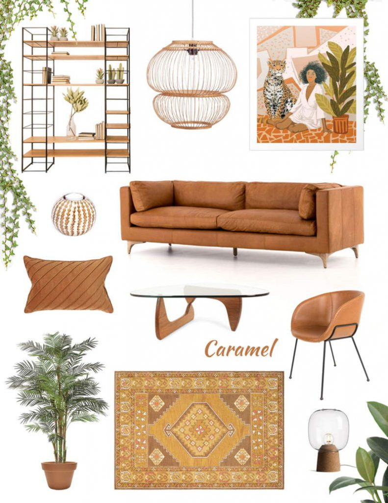 caramel color decor, tan leather decor, hazel moodboard, decorate with neutrals, italianbark, shop online