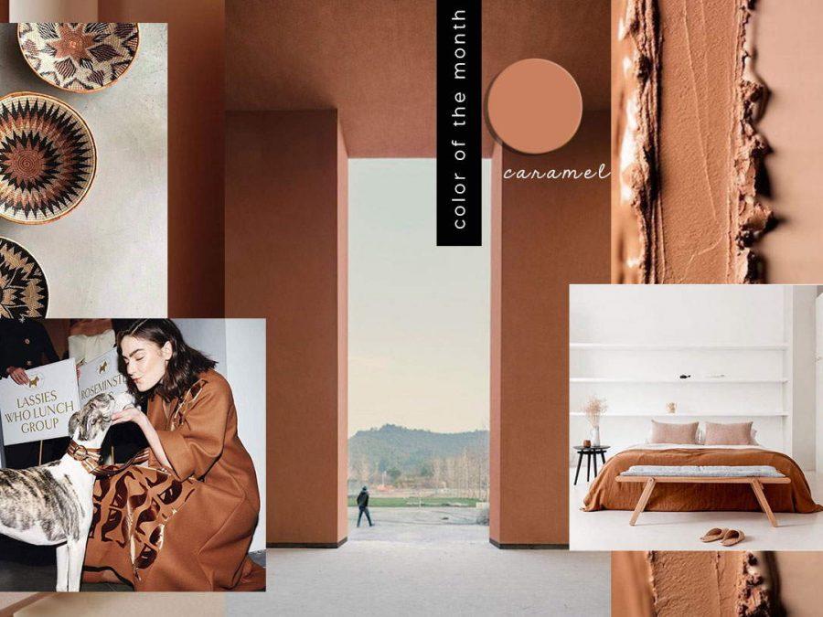 brown color trends, brown caramel, brown interiors design 2020