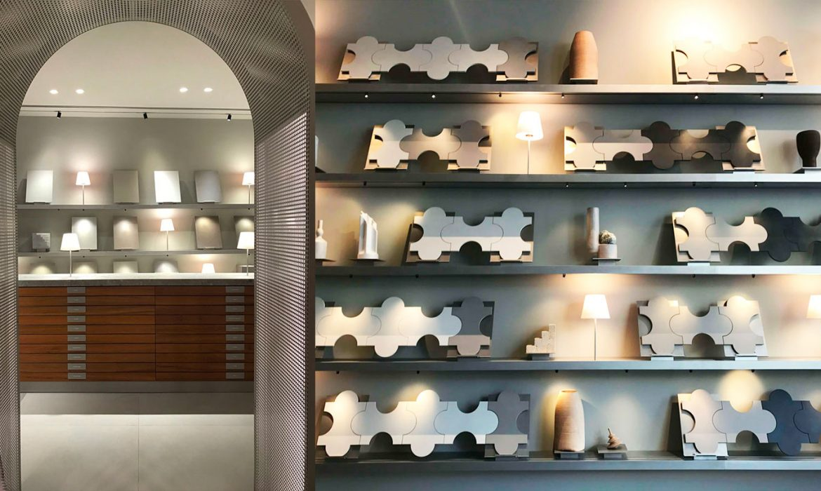 The innovative Marazzi showroom in Milano displays tiles in a cabinet of curiosities
