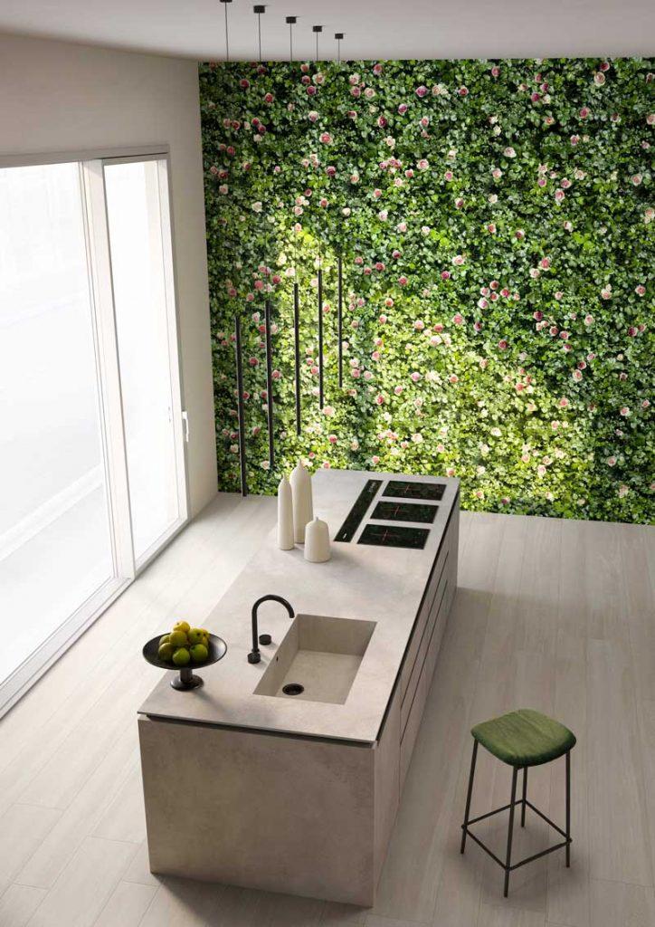 vertical garden indoor,Self-cleaning green tiles with a biophilic design, Limpha Casalgrande Padana