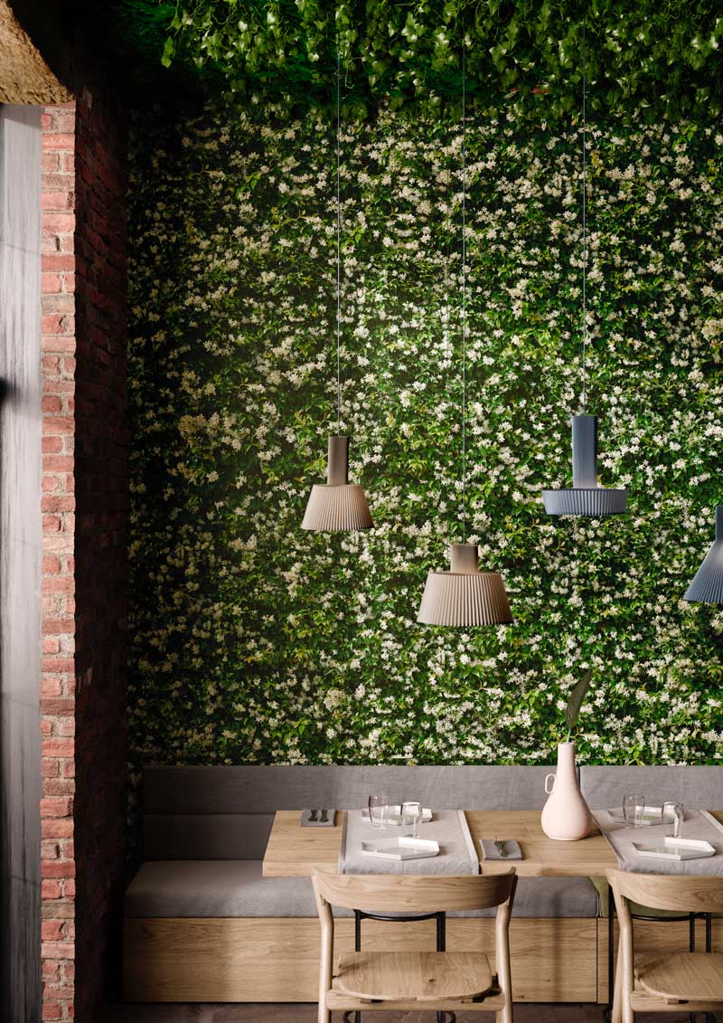 Self-cleaning green tiles with a biophilic design , Limpha Casalgrande Padana