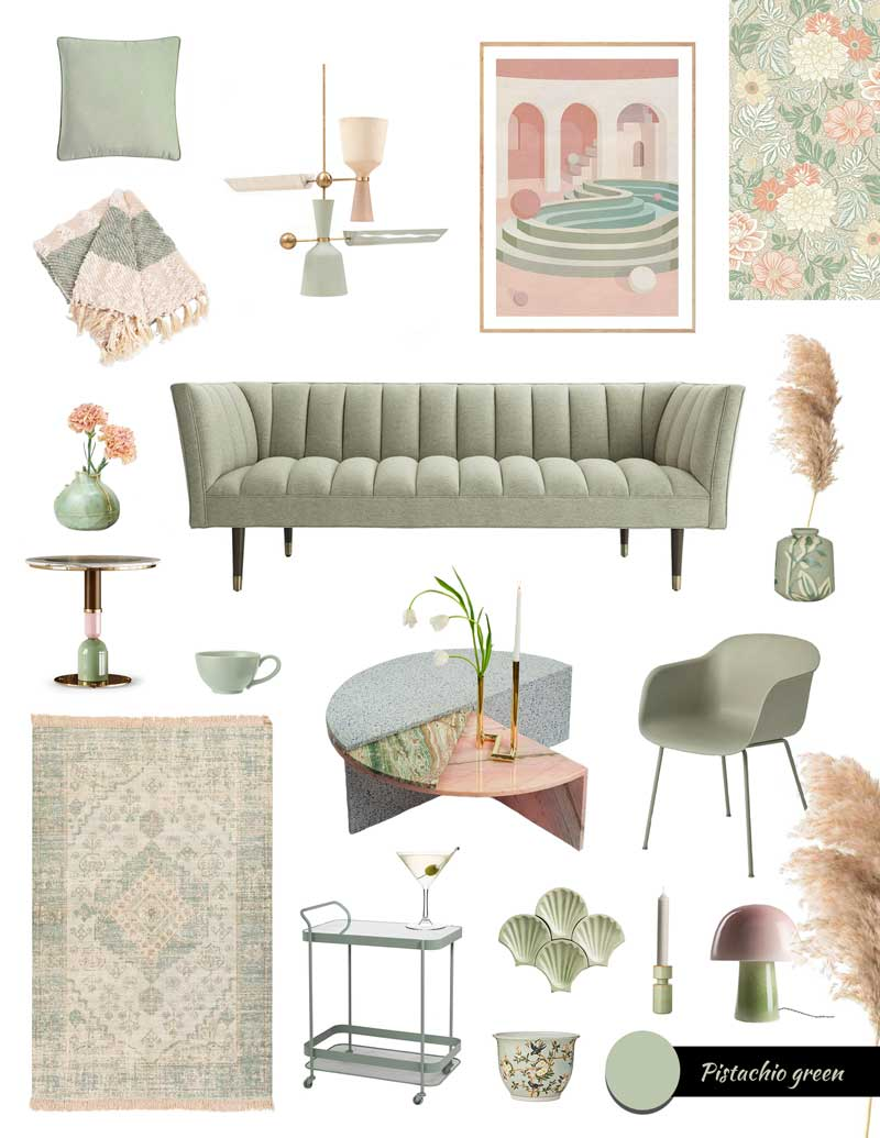 A selection of amazing light green furniture furniture and decor to embrace the new wellbeing at home in post covid times