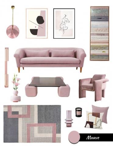 decorating with purple, mauve color trend, moodboard lilac, mauve furniture and decor