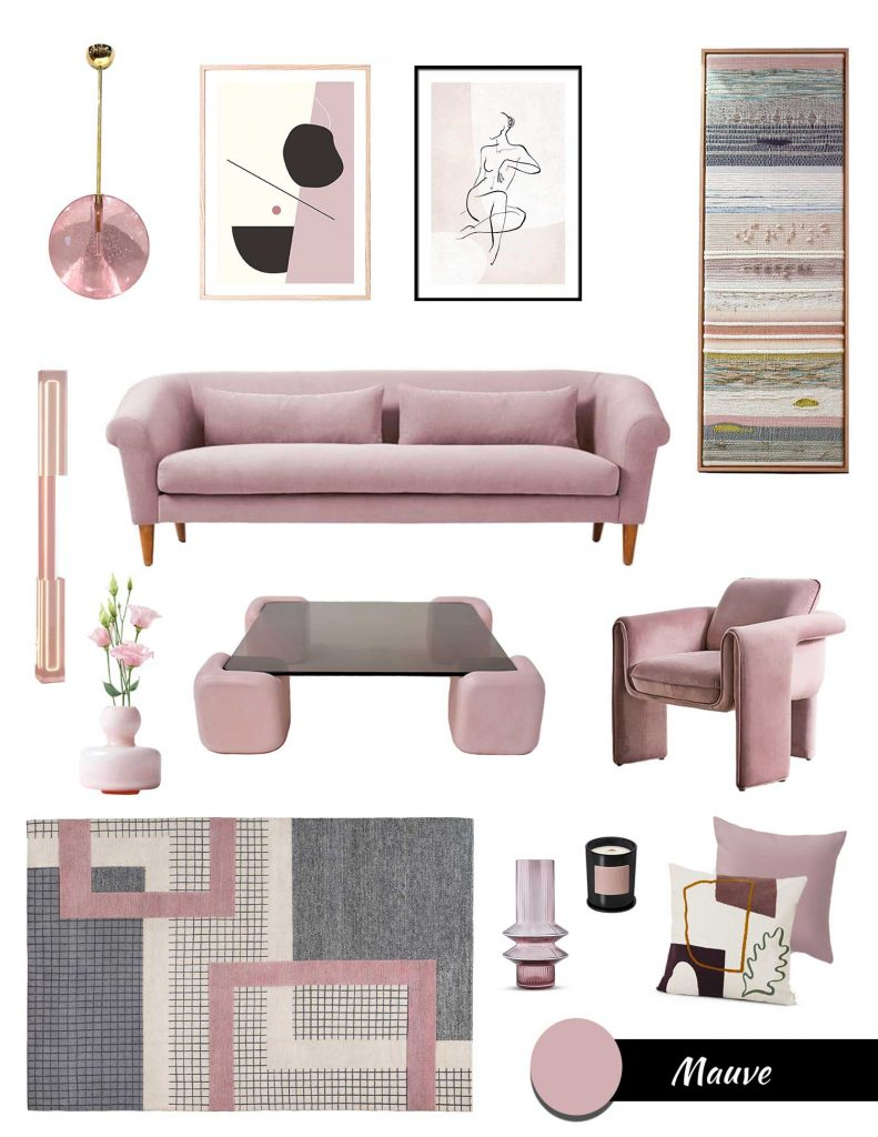 decorating with purple, mauve color trend, moodboard lilac, mauve furniture and decor