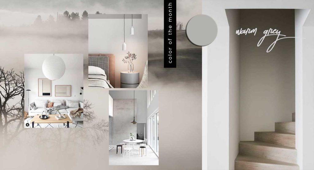 warm grey color trend interiors design