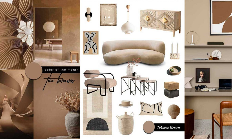 SHOP IT   A Warm Minimalist Living Room Design in Brown