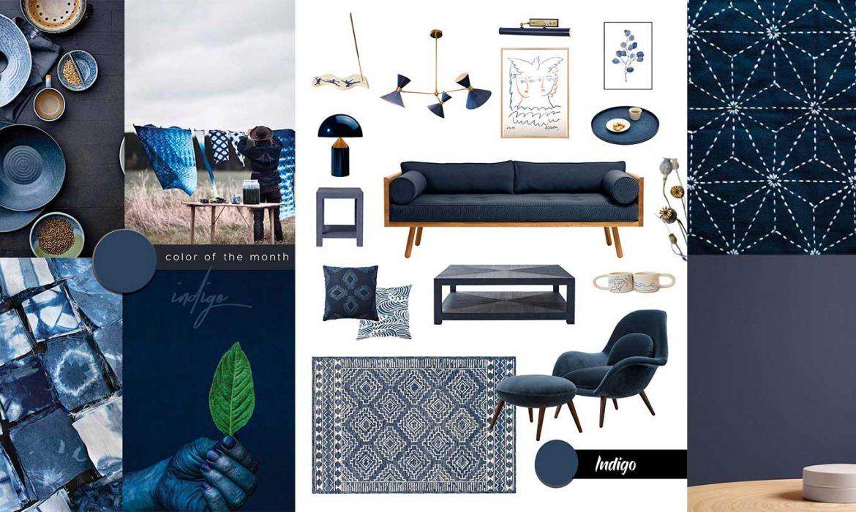 Japanese style interior in indigo blue
