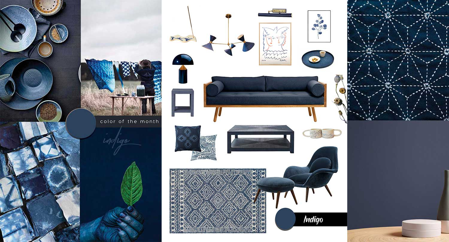Japanese style interior in indigo blue